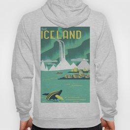 Vintage Mid Century Modern Iceland Scandinavian Travel Poster Ocean Whale Winter Village Hoody