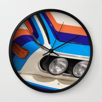 bmw Wall Clocks featuring BMW CSL by Internal Combustion