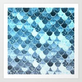 REALLY MERMAID SILVER BLUE Art Print