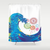 hokusai Shower Curtains featuring Hokusai Rainbow & Fireworks  by FACTORIE