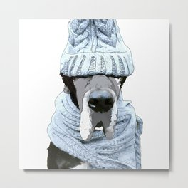 Great Dane winter hat (white background) Metal Print