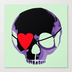 Purple skull with heart eyepatch Canvas Print