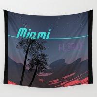 miami Wall Tapestries featuring Miami by Nioko
