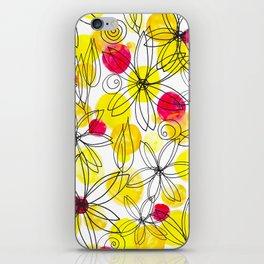 Pineapple Upside Down Floral: Bright Paint Spots with Black Ink Floral Elements iPhone Skin