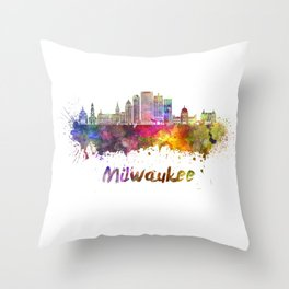 Milwaukee V2  skyline in watercolor Throw Pillow