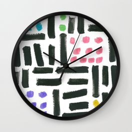 Pop Art Style Brushstroke Pattern Wall Clock