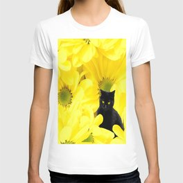 Black Cat Yellow Flowers Spring Mood #decor #society6 #buyart T-shirt