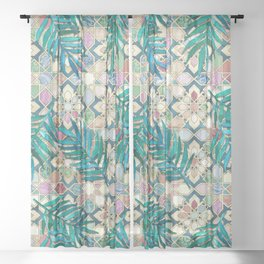 Muted Moroccan Mosaic Tiles with Palm Leaves Sheer Curtain