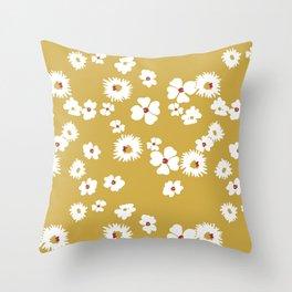 Modern liberty print on mustard ground Throw Pillow