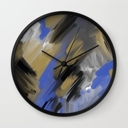 Blue Gold Brushes Wall Clock