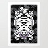 TIBETAN TIGER WHITE (black) Art Print