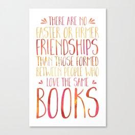 Bookish Friendship - Red/Orange Canvas Print
