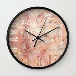 From Paris With Love In Salmon-Rosé Wall Clock