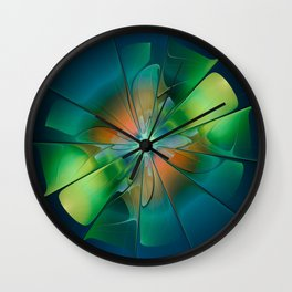 Abstract green flower Wall Clock