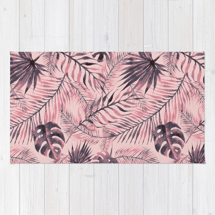 jungle leaves pattern pink rug by rosenova society6