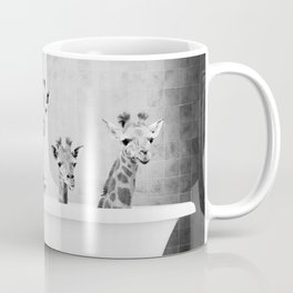 Four Giraffes in a Bath (bw) Coffee Mug