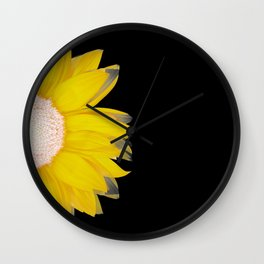 portrait of summer - yellow black Wall Clock