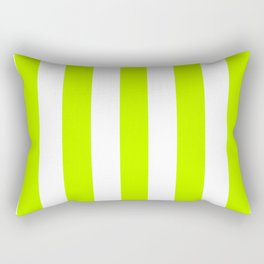 Bitter lime green - solid color - white vertical lines pattern Rectangular Pillow