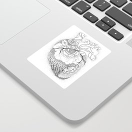 Anatomy Series: Myocardial Heart Mandala Flowers Sticker