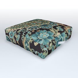 Brown Turquoise Paisley Outdoor Floor Cushion