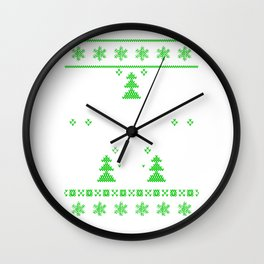 Ugly Christmas Handicapped Sign Trees Snowflakes Wall Clock