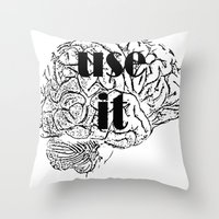 cocaine Throw Pillows featuring USE IT by Chrisb Marquez