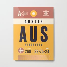 Luggage Tag A - AUS Austin Texas USA Metal Print