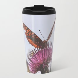 Aphrodite Fritillary Butterfly on Thistle Photography Travel Mug