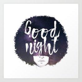 Afro night Art Print