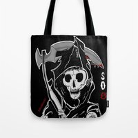 sons of anarchy Tote Bags featuring Sons Of Anarchy (Reaper) by ItalianRicanArt