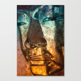 Buddha Face goldblue Canvas Print