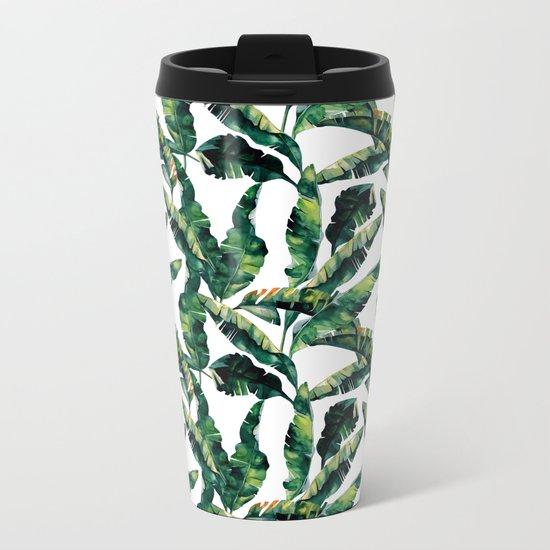 Banana Leaves Green on White Metal Travel Mug