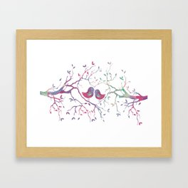 Birds Perched in Tree Framed Art Print