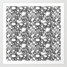 Lila's Flowers Repeat Black and White Art Print