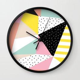 80s Retro Geometric Pattern Wall Clock