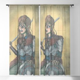Portrait of Shieldmaiden Sheer Curtain