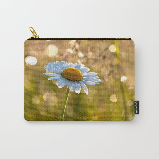 Floral Daisy Flower Flowers in a meadow after rain on #Society6 Carry-All Pouch