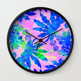 Tropical Adventure - Neon Blue, Pink and Green #tropical #homedecor Wall Clock