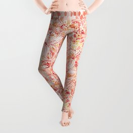 LILY LUST Peach Painterly Floral Leggings