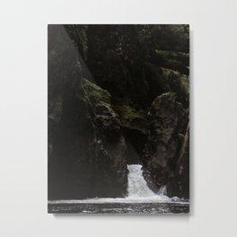Waterfall In Green Metal Print