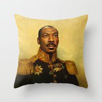 replaceface Throw Pillows featuring Eddie Murphy - replaceface by replaceface