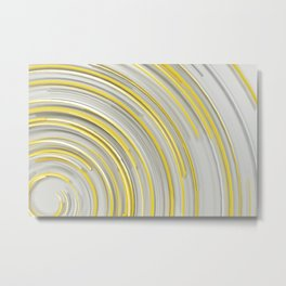 Glowing yellow concentric spirals on white Metal Print