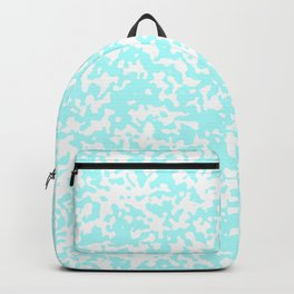 Small Spots - White and Celeste Cyan Backpack