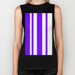 Mixed Vertical Stripes - White and Indigo Violet Biker Tank