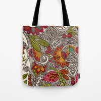 random Tote Bags featuring Random Flowers by Valentina Harper
