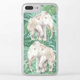 Woolly Mammoth Watercolor Mastodon Painting Clear iPhone Case