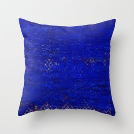 V11 Calm Blue Printed of Original Traditional Moroccan Carpet Throw Pillow