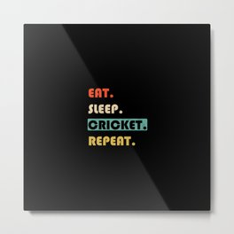 Eat Sleep Cricket Repeat Funny Sport Metal Print