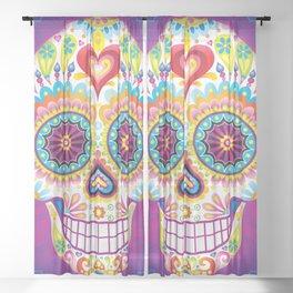 Sugar Skull Art (Luminesce) Sheer Curtain
