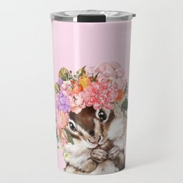 Baby Squirrel with Flowers Crown in Pink Travel Mug